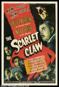 "Movie Posters:Mystery, The Scarlet Claw (Universal, 1944). One Sheet (27"" X 41""). Many critics agree that ""The Scarlet Claw"" is the best film in th..."