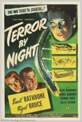"Movie Posters:Mystery, Terror By Night (Universal, 1946). One Sheet (27"" X 41""). Sherlock Holmes and Dr. Watson are on the case again. By the time ..."