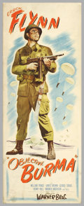 """Movie Posters:War, Objective Burma (Warner Brothers, 1945). Insert (14"""" X 36""""). One ofthe best war films made during World War 2 had Errol Fly..."""