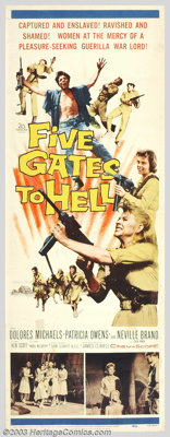 "Five Gates to Hell (20th Century Fox, 1959). Insert (14"" X 36""). James Clavell wrote, produced and directed th..."