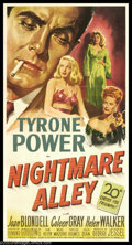"""Movie Posters:Film Noir, Nightmare Alley (20th Century Fox, 1947). Three Sheet (41"""" X 81"""").Based on a lurid bestseller by William Lindsay Graham, th..."""