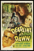 "Deadline at Dawn (RKO, 1946). One Sheet (27"" X 41""). Adapted from a novel by Cornell Woolrich, this murder/mys..."