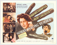 "Sorry, Wrong Number (Paramount, 1948). Half Sheet (22"" X 28""). Burt Lancaster stars in this grim tale of a man..."
