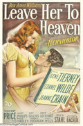"Movie Posters:Film Noir, Leave Her to Heaven (20th Century Fox, 1945). One Sheet (27"" X41""). This film was the predecessor to ""Fatal Attraction"" and..."