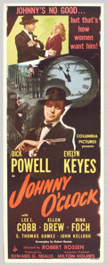 """Movie Posters:Film Noir, Johnny O'Clock (Columbia, 1947). Insert (14"""" X 36""""). Dick Powell,who reinvented his career in the 1940s after playing leadi..."""
