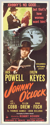 """Johnny O'Clock (Columbia, 1947). Insert (14"""" X 36""""). Dick Powell, who reinvented his career in the 1940s after..."""