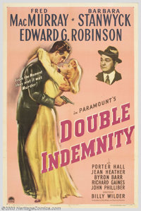 """Double Indemnity (Paramount, 1944). One Sheet (27"""" X 41""""). Life insurance. The idea was simple enough; when yo..."""