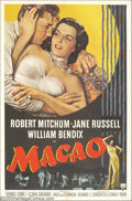 "Movie Posters:Film Noir, Macao (RKO, 1952). One Sheet (27"" X 41""). Sleepy-eyed RobertMitchum plays an ex-GI on the run from the law and ends up in a..."