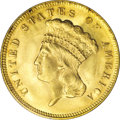 Three Dollar Gold Pieces, 1878 $3 MS63 PCGS....