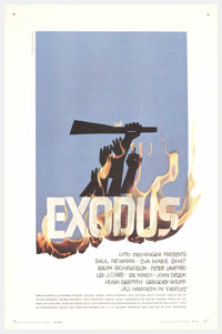 "Exodus (United Artists, 1960). One Sheet (27"" X 41""). Based on the novel by Leon Uris, this epic film stages t..."