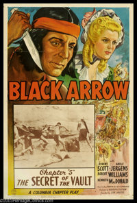 "Black Arrow, The (Columbia, 1944). One Sheet (27"" X 41""). This splendid poster is for Columbia Pictures' 15-ep..."