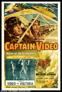 "Captain Video (Columbia, 1951). Chapter 15 ""Video vs Vultura"" One Sheet (27"" X 41""). Columbia produc..."