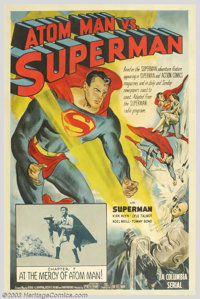 "Atom Man vs. Superman (Columbia, 1950). One Sheet (27"" X 41""). The second of Columbia's Superman serials, the..."
