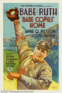 "Babe Comes Home, The (First National, 1927). One Sheet (27"" X 41""). Sports-related posters have enjoyed popula..."