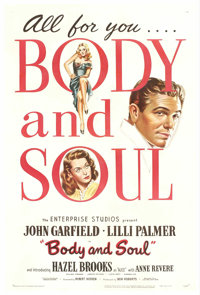 """Body and Soul (Enterprise, 1947). One Sheet (27"""" X 41""""). Simply stated, this is one of the best movies to ever..."""
