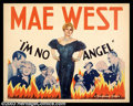 "Movie Posters:Comedy, I'm No Angel (Paramount, 1933). Half Sheet (22"" X 28""). Regarded asone of Mae West's funniest vehicles, this film really ra..."