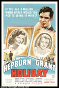 "Movie Posters:Comedy, Holiday (Columbia, 1938). One Sheet (27"" X 41""). After the amazingchemistry between Cary Grant and Katharine Hepburn in mak..."