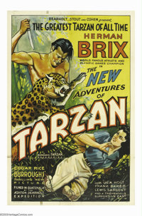 "The New Adventures of Tarzan (Burroughs-Tarzan-Enterprise, 1935). One Sheet (27"" X 41""). Author Edgar Rice Bur..."