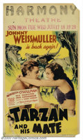 """Movie Posters:Action, Tarzan and His Mate (MGM, 1934). Midget Window Card (8"""" X 14""""). This was the second in the MGM/Tarzan series, considered by ..."""