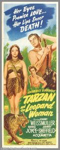 """Movie Posters:Action, Tarzan and the Leopard Woman (RKO, 1946). Insert (14"""" X 36""""). Although over the years many stars were cast as Edgar Rice Bur..."""