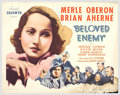 """Movie Posters:Drama, Beloved Enemy (United Artists, 1936). Half Sheet (22"""" X 28""""). """"Beloved Enemy"""" was loosely based on the exploits of Irish pat..."""