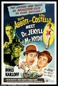 "Movie Posters:Comedy, Abbott and Costello Meet Dr. Jekyll (Universal, 1953). One Sheet(27"" X 41""). After the amazing success of ""A & C Meet Frank..."