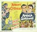 "Movie Posters:Comedy, Africa Screams (United Artists, 1949). (2) Half Sheets (22"" X 28"").The classic comic duo of Abbott and Costello are at it a... (Total:2 pieces Item)"