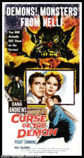 "Movie Posters:Horror, Curse of the Demon (Columbia, 1957). Three Sheet (41"" X 81""). Jacques Tourneur directed this classic horror film, starring D..."