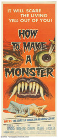 """Movie Posters:Horror, How to Make a Monster (American International, 1958). Insert (14"""" X 36""""). A prop artist, who does the monster makeup for a m..."""