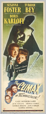 """The Climax (Universal, 1944). Insert (14"""" X 36""""). Boris Karloff stars in his first color film as the mad Dr. H..."""