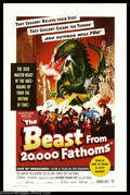 "Movie Posters:Science Fiction, Beast From 20,000 Fathoms (Warner Brothers, 1953). One Sheet (27"" X 41""). Of all the science fiction material Heritage has a..."