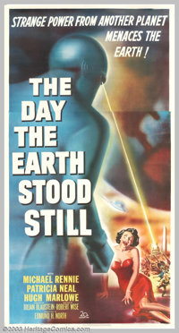 """Day the Earth Stood Still (20th Century Fox, 1951). Three Sheet (41"""" X 81""""). Based on the story """"Farewell..."""