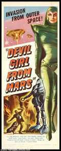 """Movie Posters:Science Fiction, Devil Girl From Mars (Spartan, 1955). Insert (14"""" X 36""""). It seems the male population of Mars is dropping, so they delegate..."""