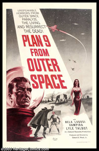 "Plan 9 From Outer Space (DCA, 1959). One Sheet (27"" X 41"").This sci-fi film, from legendary director Ed Wood..."