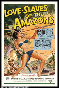 """Love Slaves of the Amazon (Universal International, 1957). One Sheet (27"""" X 41""""). A group of explorers, lost i..."""