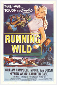 "Running Wild (Universal, 1955). One Sheet (27"" X 41""). William Campbell stars as an undercover cop who goes ba..."