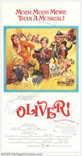 "Movie Posters:Musical, Oliver (Columbia, 1968). Three Sheet (41"" X 81""). This is a musical adaptation of Charles Dickens' classic tale of an orphan..."