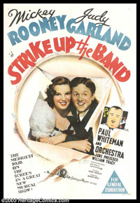 "Strike Up the Band (MGM, 1940). Australian One Sheet (27"" X 40""). Judy Garland and Mickey Rooney made a number..."