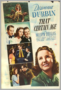 "Movie Posters:Comedy, That Certain Age (Universal, 1938). (40"" X 60"") Photo Gelatin. Inthis musical romantic comedy of 1938, Deanna Durbin plays ..."