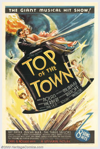 "Top of the Town (Universal, 1937). One Sheet (27"" X 41""). A much overlooked comedy/musical extravaganza that u..."