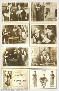 "A Dog's Life (First National, 1918). Lobby Card Set (11"" X 14""). Down on his luck, Charlie finds an only frien..."