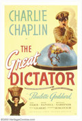 "Movie Posters:Comedy, The Great Dictator (United Artists, 1940). One Sheet (27"" X 41"").The Little Tramp, Charlie Chaplin, traded in his tradition..."