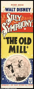 "Movie Posters:Animated, Old Mill, The (RKO, 1937). Australian Daybill (14"" X 40""). DisneyStudios were at the forefront of the art of animation at t..."