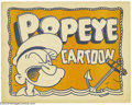 "Movie Posters:Animated, Popeye (Paramount, 1937). Lobby Card (11"" X 14""). In 1929, a10-year-old comic strip by Elzie Seagar: ""The Thimble Theatre,""..."