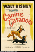 """Movie Posters:Animated, Canine Casanova (RKO, 1945). One Sheet (27"""" X 41""""). Pluto is inlove, smitten by Dinah the dachshund. At first she ignores h..."""