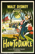 "Movie Posters:Animated, How To Dance (RKO, 1953). One Sheet (27"" X 41""). Goofy is at it again in one of the ""How To"" shorts that Disney made so famo..."