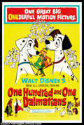 "Movie Posters:Animated, One Hundred and One Dalmations (Buena Vista, 1961). One Sheet (27""X 41""). Now regarded as a true Disney classic, ""101 Dalma..."