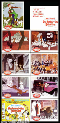 """One Hundred and One Dalmatians (Buena Vista, 1961). (9) Lobby Card Set (11"""" X 14""""). One of the great Disney cl..."""