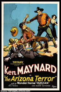 "Arizona Terror (Tiffany Pictures, 1931). One Sheet (27"" X 41""). Former rodeo champion Ken Maynard performed as..."