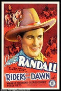 "Movie Posters:Western, Riders of the Dawn (Monogram, 1937). One Sheet (27"" X 41""). JackRandall stars as a lawman, masquerading as an outlaw, who's..."